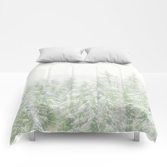 White Winter Forest with a Hint of Mint Comforters