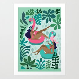 Girl friends Art Print