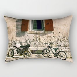 Two bikes against the wall Rectangular Pillow