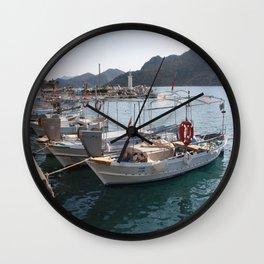 Turkish Fishing Boats Moored at Bozburun Wall Clock
