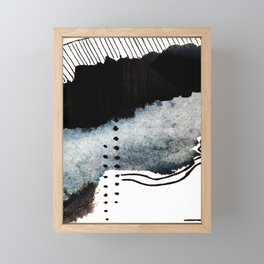 Closer - a black, blue, and white abstract piece Framed Mini Art Print