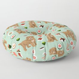Bichpoo sushi dog breed cute pet portrait pet friendly pattern dog lover gifts Floor Pillow