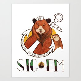 Sailor Bear Redux - Baylor University Art Print