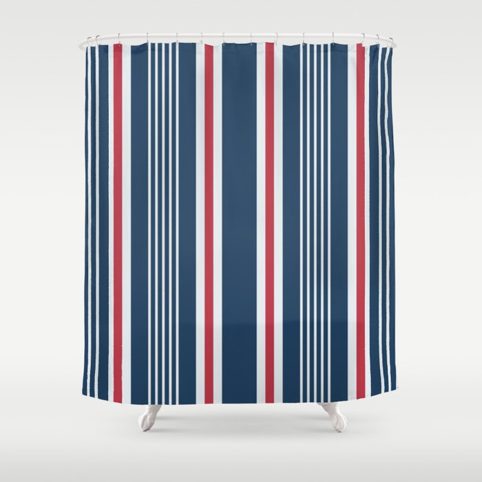 Classic navy nautical mixed stripes pattern Shower Curtain