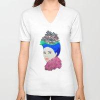japan V-neck T-shirts featuring Japan by Luna Portnoi
