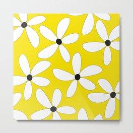 Happy flowers Yellow Metal Print