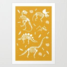 Dinosaur Fossils on Mustard Yellow Art Print