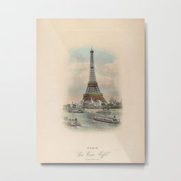 Paris Eiffel Tower antique art photo Metal Print