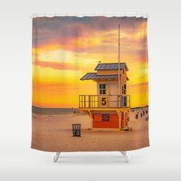 Clearwater Beach Ocean Sunrise Lifeguard Hut Yellow Sky Summer Print Shower Curtain