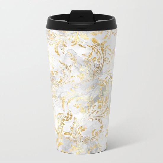 Elegant Gold swirls Metal Travel Mug