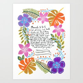 Proverbs 3:3-5 / Bible verse / Tropical plants / Tropical flowers / Botanic Illustration  Art Print