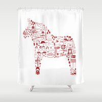 sweden Shower Curtains featuring All about Sweden  by Neda Hajmomeni