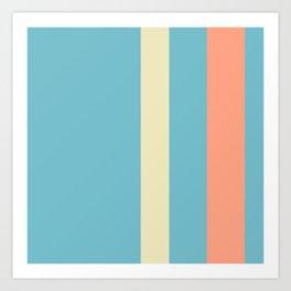 A tremendous batter of Bright Gray, Seafoam Blue, Vivid Tangerine and Spring Green (Crayola) vertical stripes. Art Print