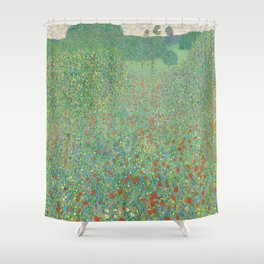 Gustav Klimt - Blühender Mohn Shower Curtain
