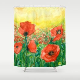 Poppies at dusk Shower Curtain