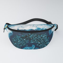 Blue White Agate with Blue Glitter #1 #gem #decor #art #society6 Fanny Pack