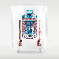 r2d2 Shower Curtains featuring R2D2 by trevacristina