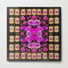 Flowers and gold in fauna decorative style Metal Print