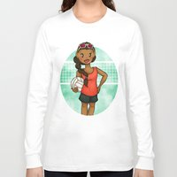 volleyball Long Sleeve T-shirts featuring Volleyball Girl by Everybody Illustrated