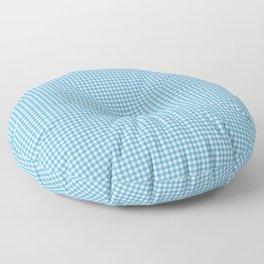 Small Ocean Blue on White Gingham Squares Floor Pillow