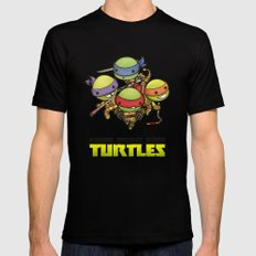 Kawaii Mutant Ninja Turtles Black Mens Fitted Tee LARGE
