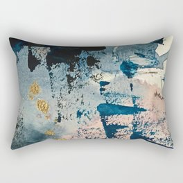 Pleiades: a minimal, abstract mixed media piece by Alyssa Hamilton Art in Pink, Gold, and Blue Rectangular Pillow