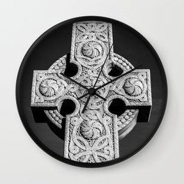 Celtic Stone Cross At Sunset Wall Clock
