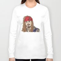 jack sparrow Long Sleeve T-shirts featuring Jack Sparrow - Pirates - Carribbean - JonnyDepp - Depp by Matty723