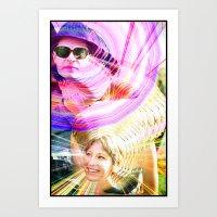 jenna kutcher Art Prints featuring James and Jenna by Karl Doerrer-Attaway