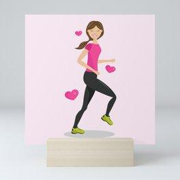 Cute Girl Who Loves To Run Cartoon Illustration Mini Art Print
