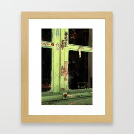 green vintage window Framed Art Print