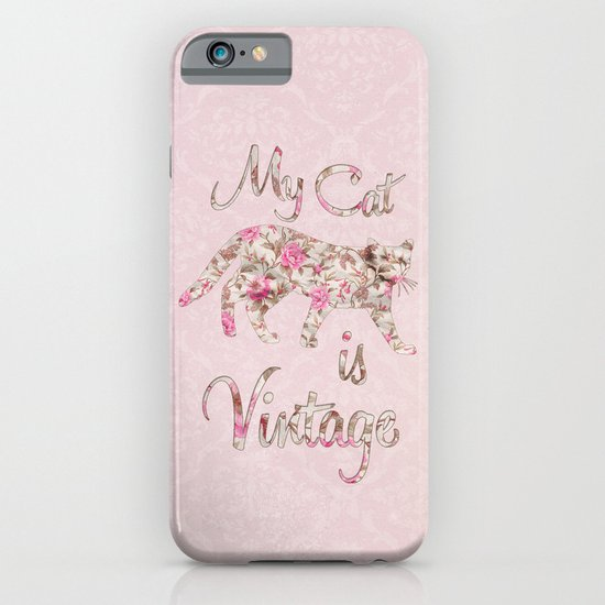 My Cat Is Vintage Retro Pink Floral Damask iPhone & iPod Case