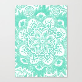 turquoise floral mandala Canvas Print