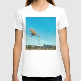 """""""Photography of Nature"""" Winter Reeds with Church, on the Sky the Moon and a Plane at Piliscsev T-shirt"""