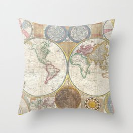 Samuel Dunn Wall Map of the World in Hemispheres c.1794 Throw Pillow