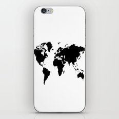 Black and White world map iPhone Skin