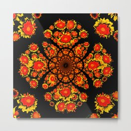 Abstracted Yellow-red Stylized Sunflowers Geometric Pattern Metal Print