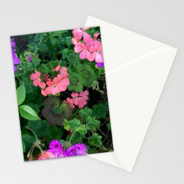 Pink and purple garden Stationery Cards