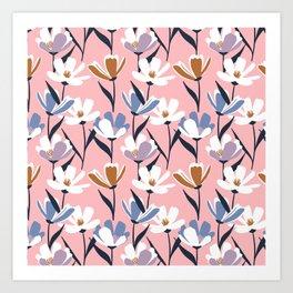 Simple modern florals Art Print