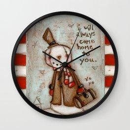 I Will Come Home - Travelin' Snowman in Love Wall Clock