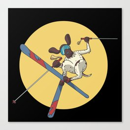 German Shorthaired Pointer dog skiing Canvas Print