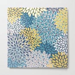 Modern, Floral Prints, Blue and Yellow Metal Print