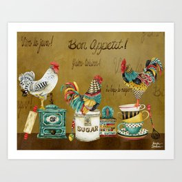 Roosters Majestic Art Print