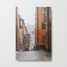 Quaint, cobbled back street in Gamla Stan | Stockholm, Sweden Metal Print