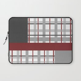 Grey Red Burgundy Checkered Gingham Patchwork Color Canvas Laptop Sleeve