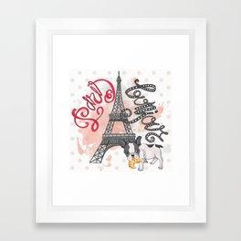 Paris Bonjour Framed Art Print