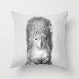 Squirrel - Black & White Throw Pillow
