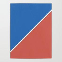 Fire Red & Mild Blue - oblique Poster