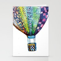 hot air balloon Stationery Cards featuring Hot Air Balloon by Emily Stalley