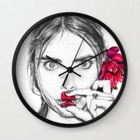 cara Wall Clocks featuring CARA  by Roxanne Jade Dentry